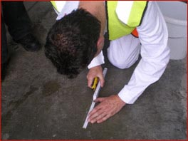 Hardness testing of concrete floor surfaces by scratch testing